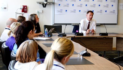 Jeremy Hunt talks to staff