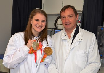 Mark Batterbury with patient, and Paralympic gold & silver medallist, Stephanie Slater MBE